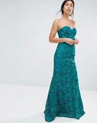 Forever Unique Felicia Embelished Bandeau Maxi Dress Teal Blue