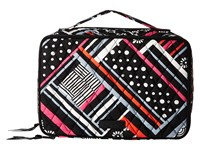 Vera Bradley Large Blush Brush Makeup Case Northern Stripes Cosmetic Case Gray