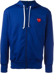 Comme Des Garcons Play Embroidered Logo Hoodie Blue