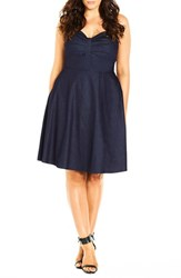 Plus Size Women's City Chic 'Dress In The Present' Sundress Dark Denim