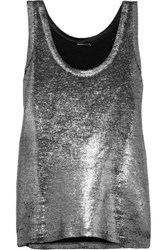 Ann Demeulemeester Metallic Linen And Wool Blend Tank Silver