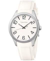 Calvin Klein Men's Swiss White Silicone Strap Watch 40Mm K5e511k2