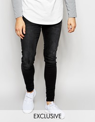 Exclusive To Asos Waven Jeans Extreme Super Skinny Fit Mid Rise Washed Black Washedblack