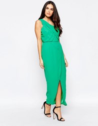 Vlabel London Herne One Shoulder Dress With Split Green