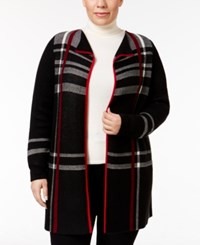Charter Club Plus Size Plaid Duster Cardigan Only At Macy's Deep Black Combo