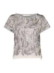 Oui Feather Sequin Top Grey