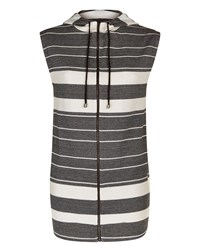 Jaeger Cotton Jersey Stripe Gilet Black