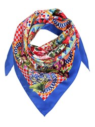 Dolce And Gabbana Flower Printed Silk Twill Square Scarf