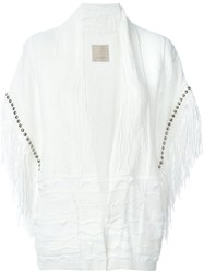Laneus Textured Effect Studded Fringe Sleeve Wide Fit Cardigan White