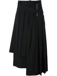 Yohji Yamamoto Wrapped Pleated Skirt Black