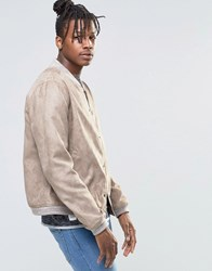 Native Youth Brushed Soft Touch Bomber Jacket Tan