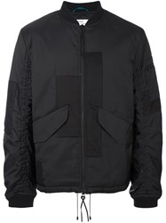 Oamc Patchwork Design Bomber Jacket Black