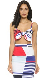 Milly Marina Stripe Bow Crop Top Multi