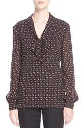 Women's St. John Collection Heart And Dot Print Silk Georgette Blouse