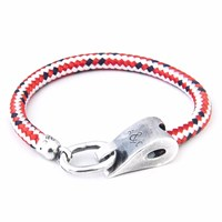 Anchor And Crew Red Dash Stornoway Rope Bracelet
