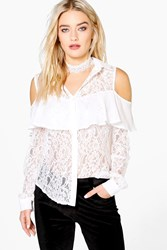 Boohoo Woven Lace Cold Shoulder Frill Shirt Ivory