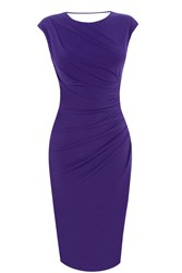 Oasis Ruched Stretch Pencil Dress Dark Purple