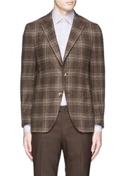 Isaia 'Sailor' Check Wool Blazer Brown