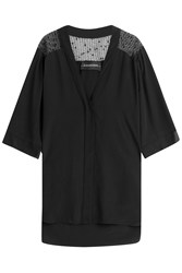 By Malene Birger Silk Blouse With Sheer Shoulder Panels Black
