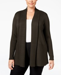 Jm Collection Plus Size Ribbed Open Front Cardigan Only At Macy's Espresso Roast