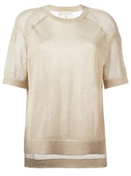 Michael Michael Kors Shortsleeved Knit Top Nude And Neutrals