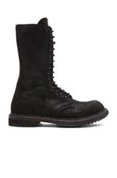 Rick Owens Army Leather Boots In Black