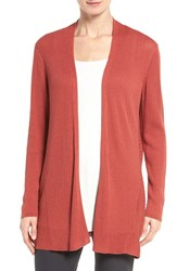 Eileen Fisher Women's Ribbed Silk And Organic Cotton Cardigan Persimmon