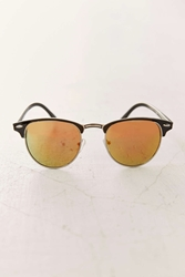 Urban Outfitters Mirrored Lens Half Frame Sunglasses Black