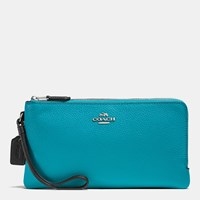 Coach Double Zip Wallet In Colorblock Leather Silver Black Turquoise