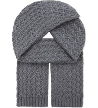 Johnstons Quilted Cashmere Scarf Smog