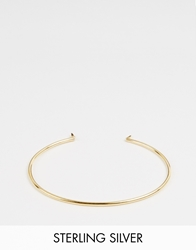Asos Gold Plated Sterling Silver Fine Oval And Spike Bangle Bracelet