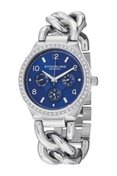 Stuhrling Women's Lady Renoir Shine Crystal Encrusted Bangle Quartz Multifunction Watch Metallic