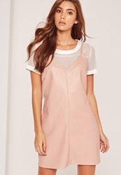 Missguided Faux Leather 2 In 1 Mini Dress Pink Nude