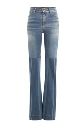 Roberto Cavalli Flared Jeans With Patchwork Blue