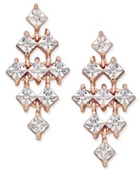 Inc International Concepts Rose Gold Tone Square Crystal Chandelier Earrings Only At Macy's