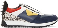 Fendi Navy And White Leather Bugs Low Top Sneakers