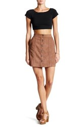 14Th And Union Faux Suede Button Mini Skirt Brown