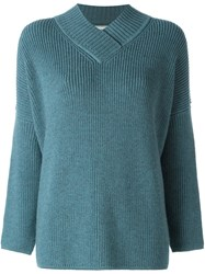 Lanvin Oversize V Neck Jumper Blue