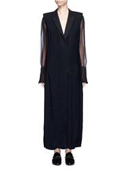 Lanvin Chiffon Sleeve Crepe Suiting Dress Black