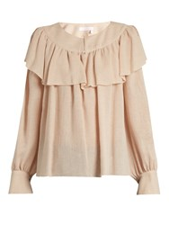 See By Chloe Ruffle Trimmed Long Sleeved Gauze Blouse Nude