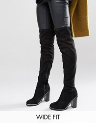 New Look Wide Fit Metal Piping Over The Knee Boots Black