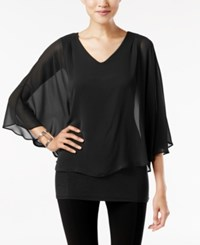 Joseph A V Neck Cape Top Black