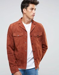 New Look Suede Western Jacket With Revere Collar In Rust Rust Red