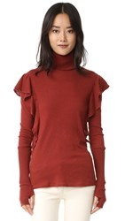 Enza Costa Cashmere Ruffle Turtleneck Russet