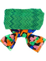 Missoni Zig Zag Knit Tie Headband Green