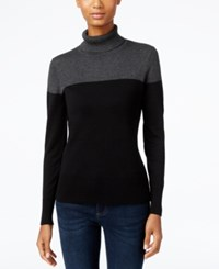 Cable And Gauge Colorblocked Turtleneck Sweater Heather Grey Black