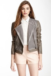 Blanc Noir Garment Dyed Faux Leather Jacket Gray