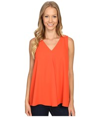 Vince Camuto Sleeveless V Neck Drape Front Blouse Vivid Flame Women's Blouse Orange