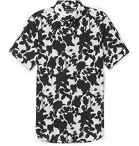 Alexander Mcqueen Brad Slim Fit Floral Print Cotton Shirt White