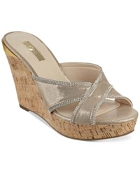 Guess Eleonora Platform Wedge Slide Sandals Women's Shoes Gold